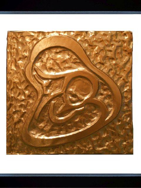 Amore Materno - rame in cornice nera cm 25 x 25