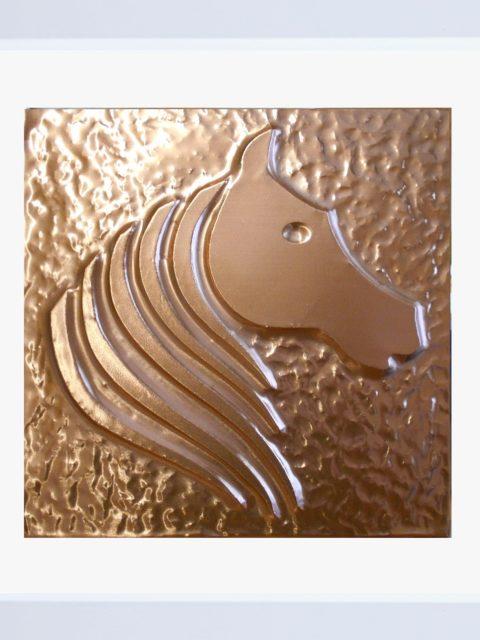 Cavallo Elegante - rame in cornice bianca cm 25 x 25