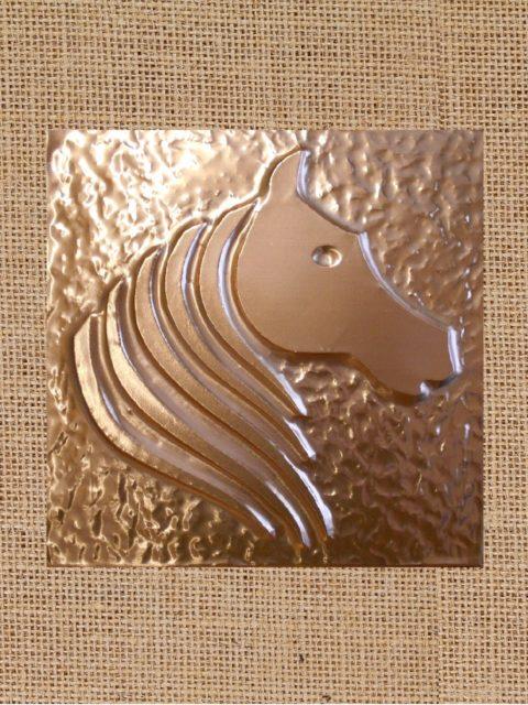 Cavallo Elegante - rame su juta cm 32 x 32