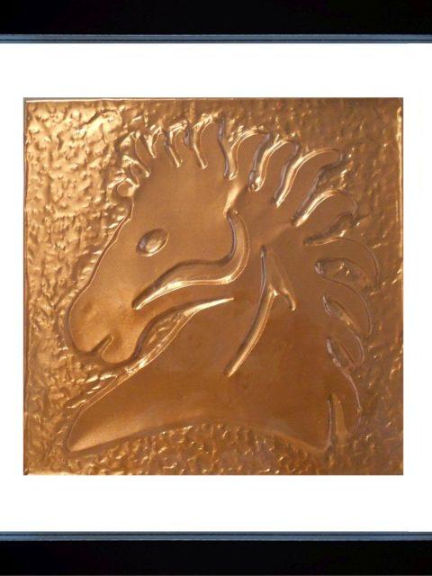 Cavallo Selvaggio - rame in cornice nera cm 25 x 25x