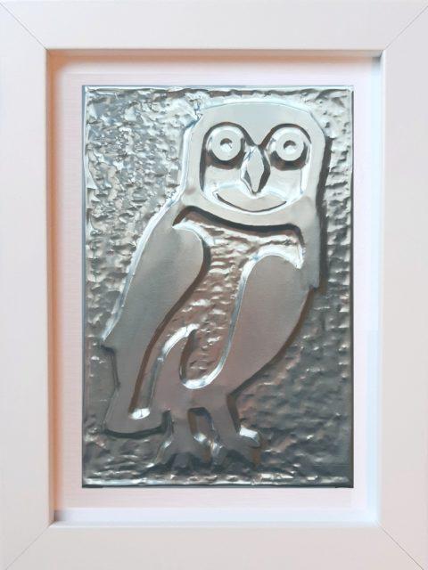 Civetta - Alluminio in cornice bianca cm 15 x 20