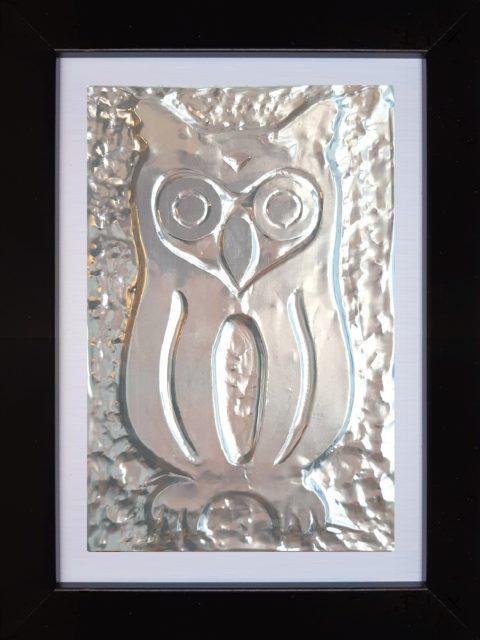 Gufetto - alluminio in cornice nera cm 15 x 20