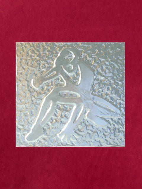 Spiderman - alluminio su velluto rosso cm 32 x 32