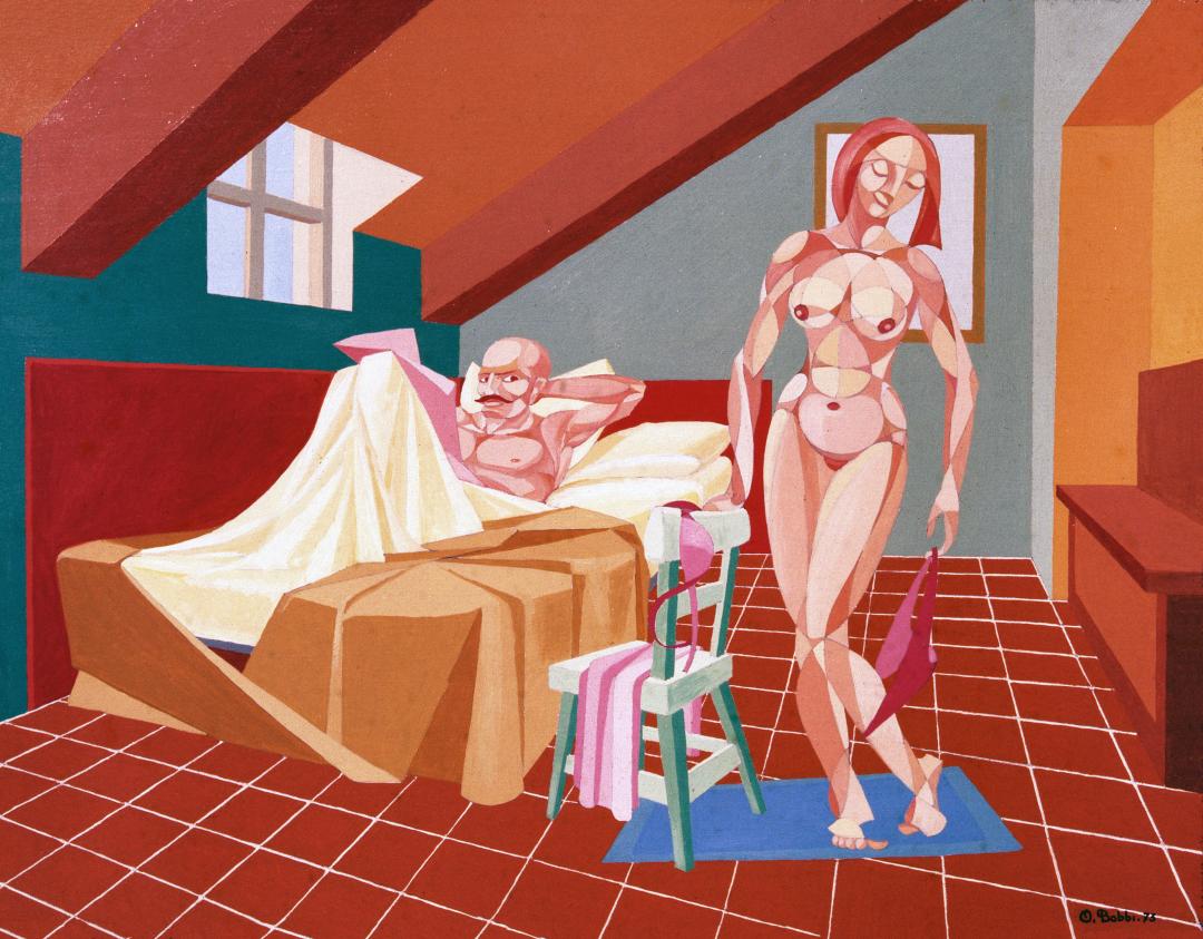 """Orazio Bobbi - Abbaino - olio su tela 1973 - ovvero """"l'appartato luogo di piacere"""". Dove darsi appuntamento per appagare il desiderio, anche mercenario, che l'artista interpreta in una luce solare a tratti geometrici di pennello"""