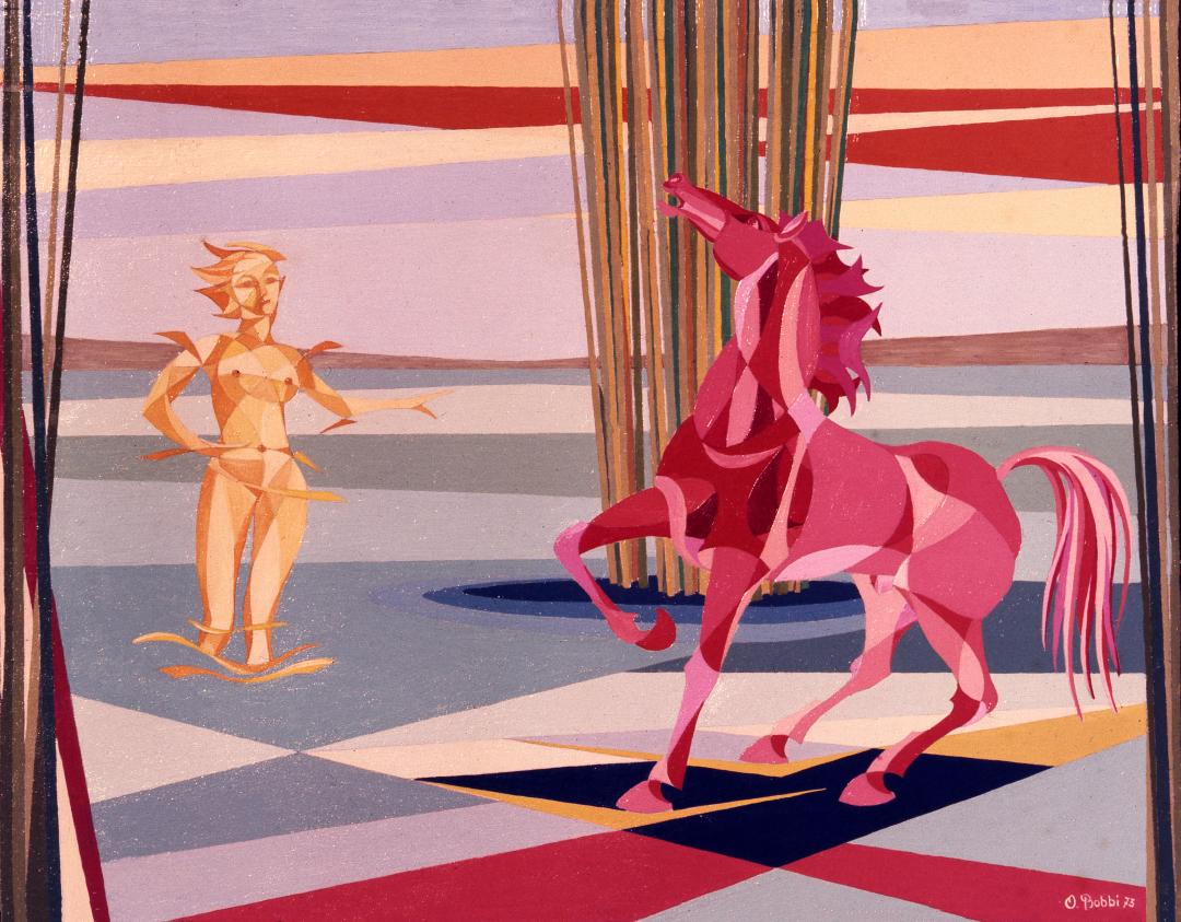 """Orazio Bobbi - Amazzone - olio su tela 1973 - """"guarda con fierezza il suo destriero"""". L'amazzone osserva orgogliosa lo strumento e compagno delle lotte, ma mentre il cavallo la incita all'azione il suo pensiero è già rivolto alle nuove sfide che l'attendono"""