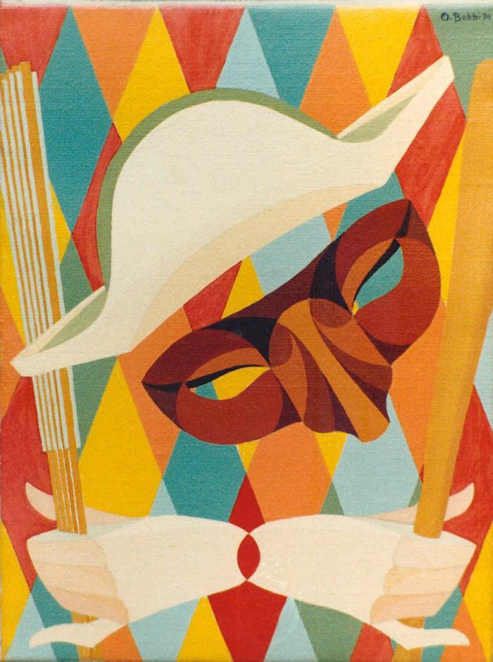 """Orazio Bobbi - Arlecchino - olio su tela 1974 - """"una festa di colori senza volto"""" interpretata in forma originale dall'artista, la maschera è circondata da una festa di colori e di forme, celando la presenza e l'identità della persona"""