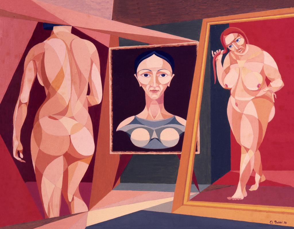 """Orazio Bobbi - Ritratti di donna allo specchio - olio su tela 1974 - ovvero """"le forme della donna"""". La bellezza della donna nelle sue diverse età interpretata dall'artista attraverso la finzione dello specchio"""