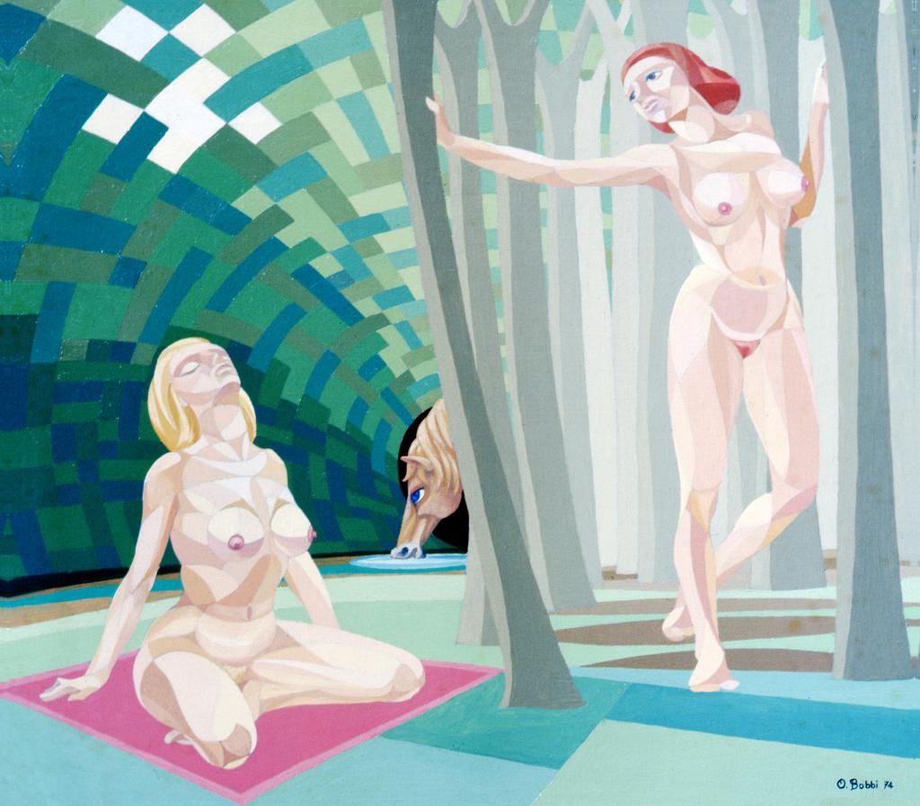 """Orazio Bobbi - Sogno di donna - olio su tela 1974 - ovvero """"bisogno di libertà"""", il bisogno di liberare il corpo al sole, generatore di vita, e di aprirsi un percorso nella foresta umana, vigile e pronta a liberare il proprio desiderio, nella forma del cavallo"""