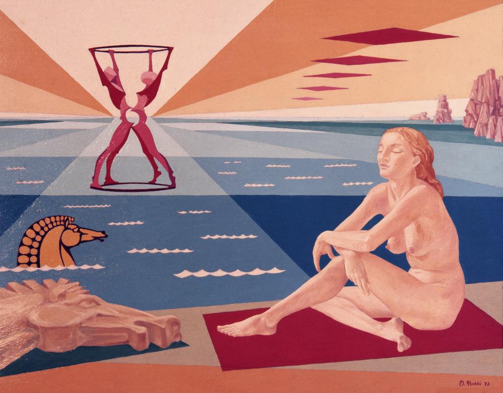 Orazio Bobbi - Sogno sulla spiaggia - olio su tela 1973 - l'artista interpreta l'addormentarsi sulla spiaggia e sognare, quel momento nel quale il tepore del sole fa assopire e lo sciacquio delle onde a riva fanno rivivere passioni ed avventure quotidiane