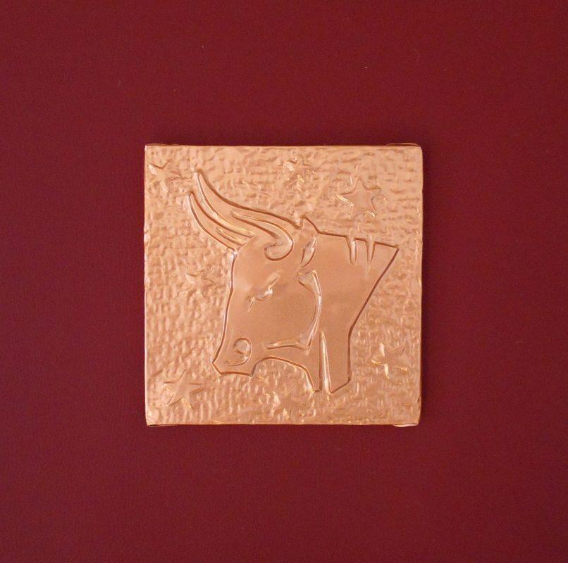 Esempio di segno zodiacale montato su pannello rivestito in pelle sintetica rossa