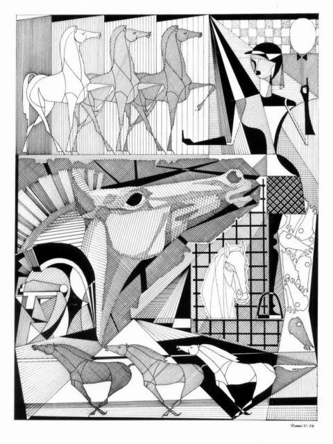 Orazio Bobbi -  La storia del cavallo nel tempo -  china su cartoncino 1973