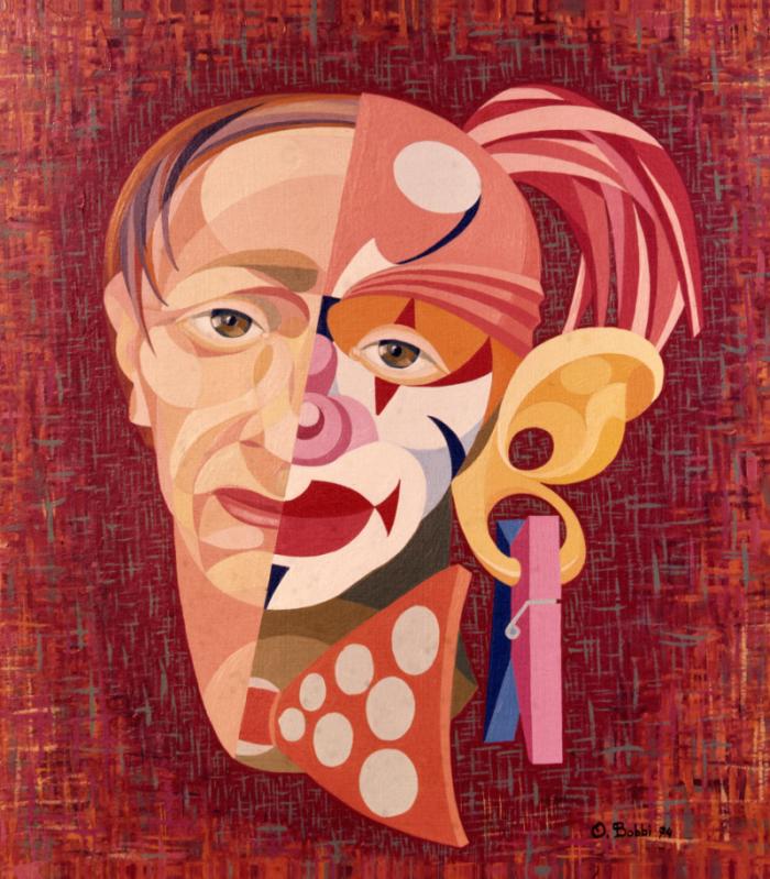 """Orazio Bobbi - il pagliaccio - olio su tela 1974 - ovvero """"le trasformazioni del ruolo"""" un'interpretazione senza mediazioni che scava sotto le apparenze, l'immagine percepita, per svelare e mostrare il vero volto della persona liberata dal proprio ruolo"""