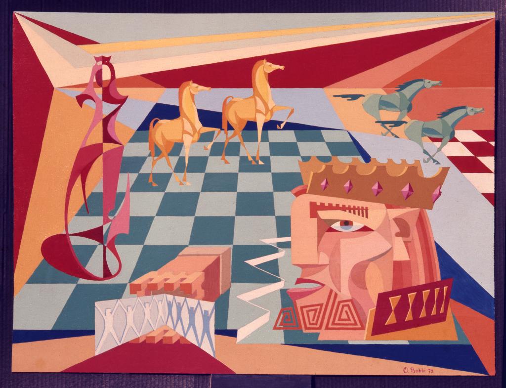 """Orazio Bobbi - scacco al re - olio su tela 1973 - ovvero """"il regno degli scacchi sta crollando"""" fuggono i cavalli sotto l'assalto dei nuovi arrivati, crolla anche la torre assediata dai fanti e la regina nemica prende posizione per l'attacco finale"""