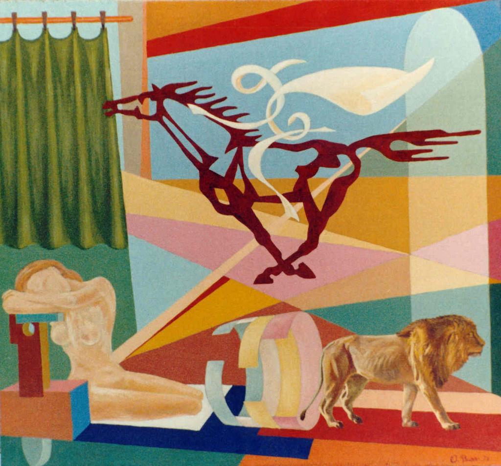 """Orazio Bobbi - il sogno - Olio su tela 1973 - """"il sogno supera i limiti umani"""" così la donna addormentata cavalca il destriero, una veloce corsa nel vento, lasciando libera la forza selvaggia che è in sé, simbolicamente rappresentata dal leone"""